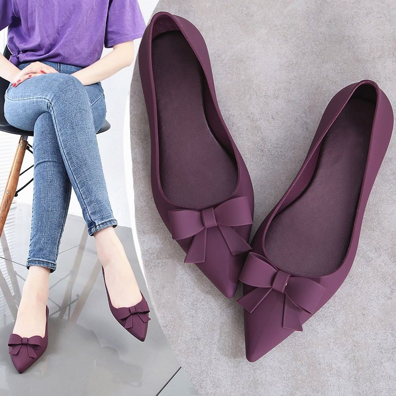 EOEODOIT 2019 Summer Jelly Flats Women Beach Sand Soft Pointy Toe Flat Heel Sandals Women Rain Shoes Bowknot Slide Resistance