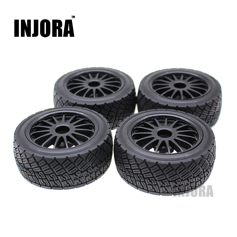 INJORA 4PCS Rally Rubber Tires & Wheel Rim Set for HPI WR8 1/10 Off-Road RC Car HSP 94177