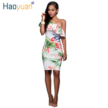 Women Sexy Dress 2017 Flower Floral Print One Shoulder Knee Length Summer Party Dresses Women Clothing
