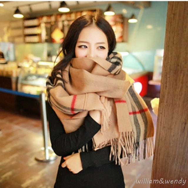 Women England Plaid Double-Sided Korean Fashion Scarf Winter Warm Cashmere Shawl Pocket Luxury Chinese New Year Gift Stoles Wrap