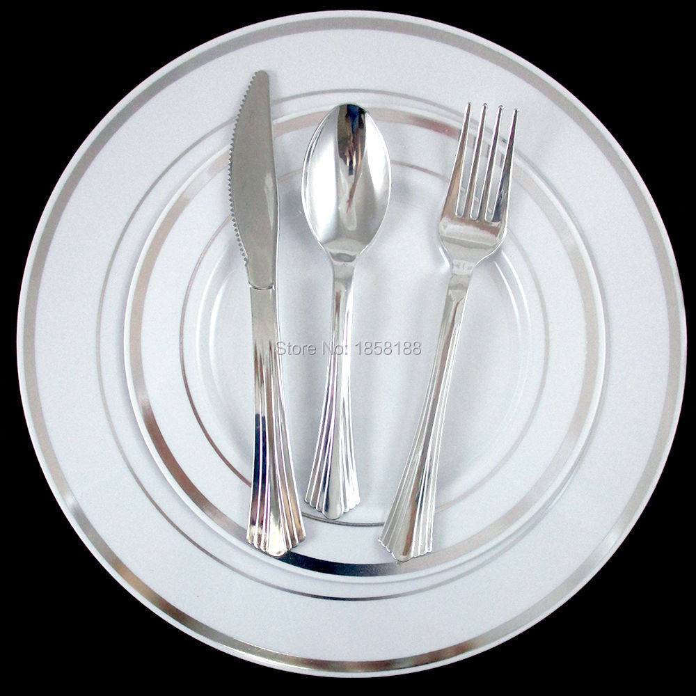 120 People Disposable Wedding Dinnerware Tableware Hard Plastic Plates Silver Rim With Shiny Silver Cutlery Fork