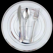 120 человек одноразовые Свадебные Столовая посуда Посуда жесткий Пластик Таблички серебряная оправа с блестящей серебряные столовые приборы Вилы/Ложка/Ножи