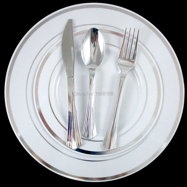 120 People Disposable Wedding Dinnerware Tableware Hard Plastic Plates Silver Rim With Shiny Silver Cutlery Fork  sc 1 st  AliExpress.com & 120 People Disposable Wedding Dinnerware Tableware Hard Plastic ...