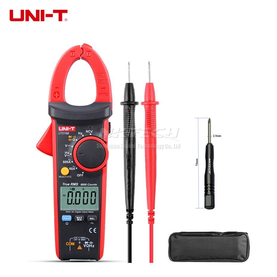 UNI-T Numérique Pince Multimètre UT216B UT216C UT216A Vrai RMS AC DC Tension DCA Résistance Capacité Fréquence NCV VFC Auto Gamme