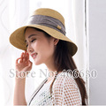2015 summer elegant sun hat for women wide brimmed chapeu feminino straw beach hats female dress chruch hat free shipping
