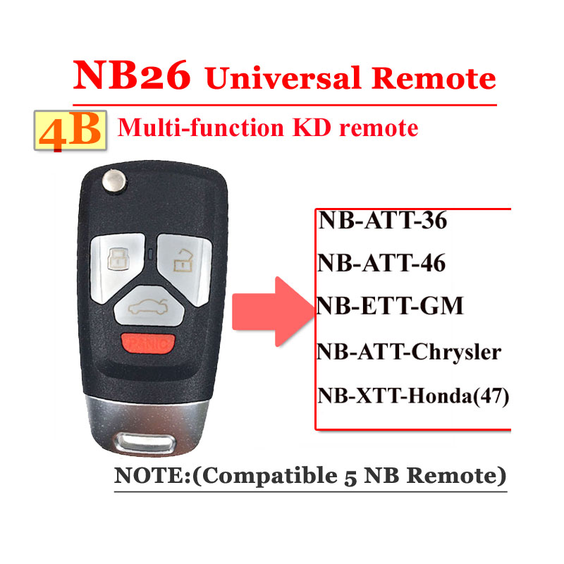 Free Shipping (1 Pcs)NB26  4 Button Kd900 Remote  NB Series Key Universal Multi-function  For KD900 URG200 Remote Master