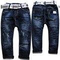 3977 pintura ponto buraco elástico na cintura pequena solta calça jeans menino calças crianças meninos calças jeans primavera outono azul marinho crianças