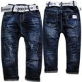 3977 pintura punto agujero cintura elástica poco flojo pantalones vaqueros del muchacho muchachos niños pantalones vaqueros del otoño del resorte niños de color azul marino