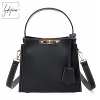 Lydztion Women Black Leather Bag 2018 Key Lock Designer Totes Fashion Womans Work Bags Cross Shoulder