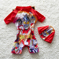 Bebé del Verano Traje de Baño Uno Junta Las Piezas Set Con Sombrero Niño Lindo de Los Niños de dibujos animados de Playa del traje de Baño Floral traje de Baño Guardias Punta S2058