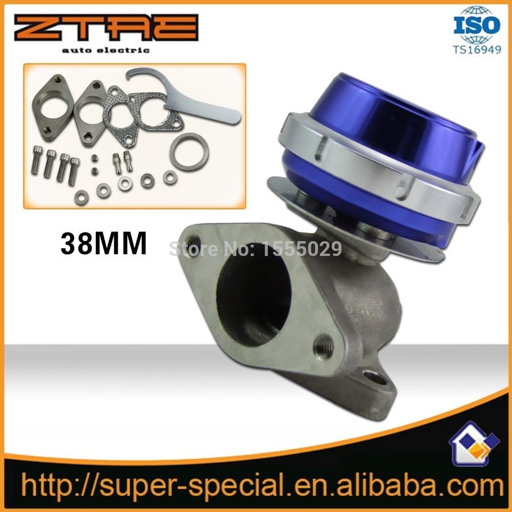 Bleu universel turbo waste gate Convient Nouvelle 38mm Externe Wastegate Turbo Wastegate Pour Tous Turbocompressés Véhicules