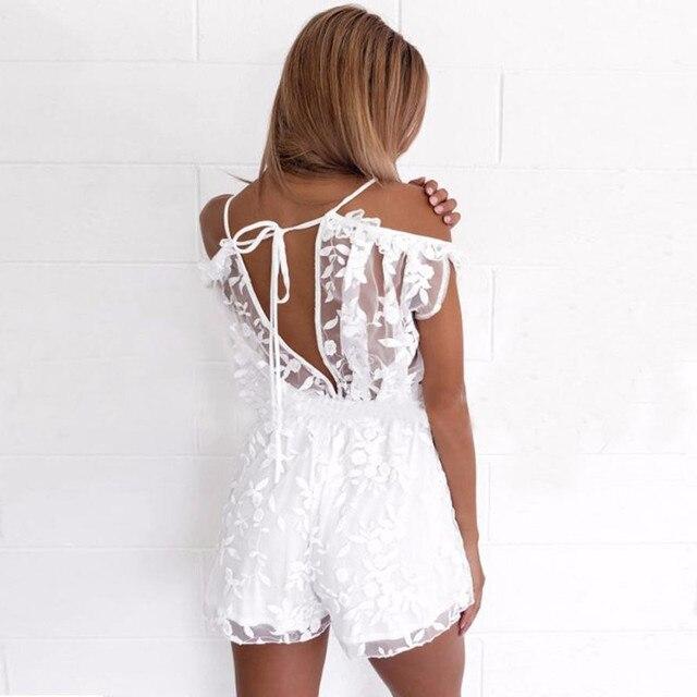 20139bac406c Mono Sexy de verano encaje con cuello en v hombros descubiertos blanco para  mujer elegante corto manga acampanada EY11