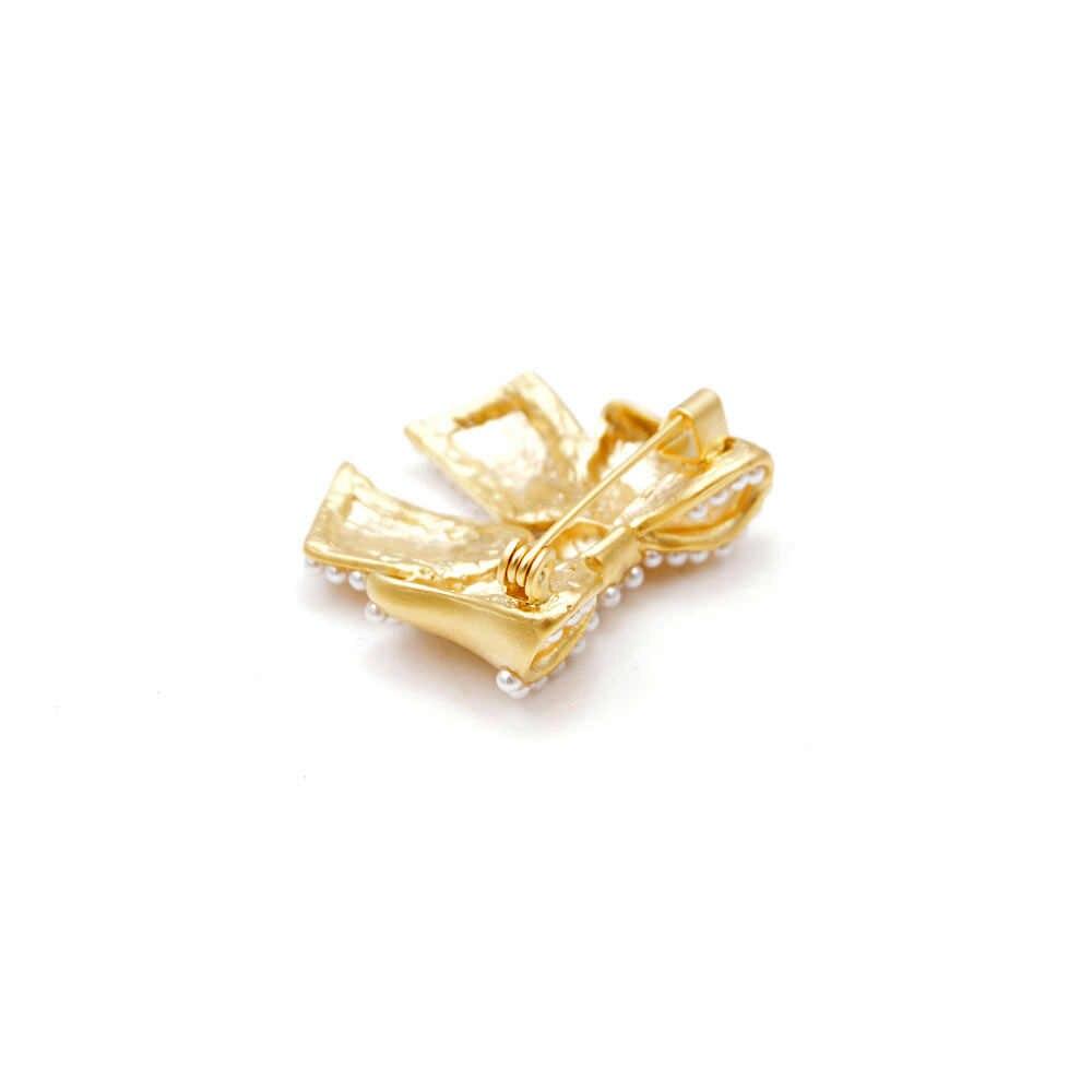 Cindy Xiang Dell'arco Della Perla Spille per Le Donne in Oro Opaco di Colore Piccolo Bowknot Spilli Vestito da Estate T-Shirt Acessori Nuovo Disegno 2019