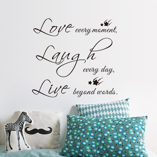 Free Shipping Live Love Laugh Letters Star Transprent Waterproof Vinyl Wall  Quotes Decal Home Decor Wall