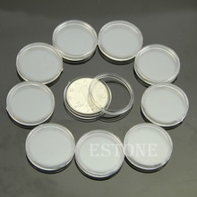 10 PCS Applied Clear Round Cases Coin Storage Capsules Holder Round Plastic 23mmfor kitchen or bathroom