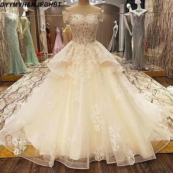 2019 New White/Iovry Lace Ball Gown Bridal Gown Wedding