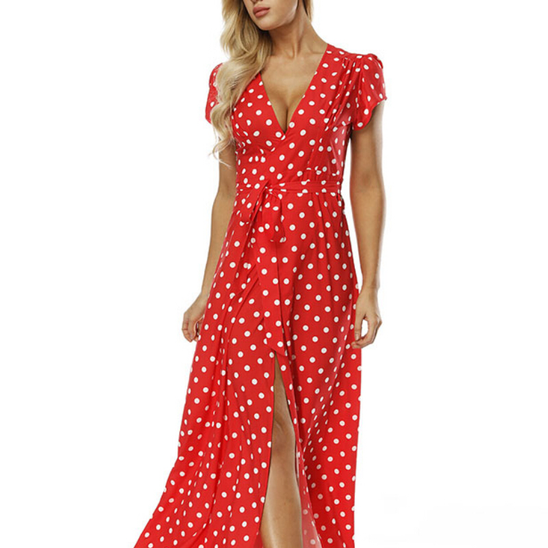 Women 39 s Dress Boho Polka Dot Summer Beach Long Party V Neck High Waist Split A Line Maxi Dress Prairie Female Vestido in Dresses from Women 39 s Clothing