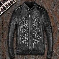 Hommes femmes Rétro style squelette crâne PU Moto veste en cuir coureur XL 883 1200 72 48 Road King fat boy