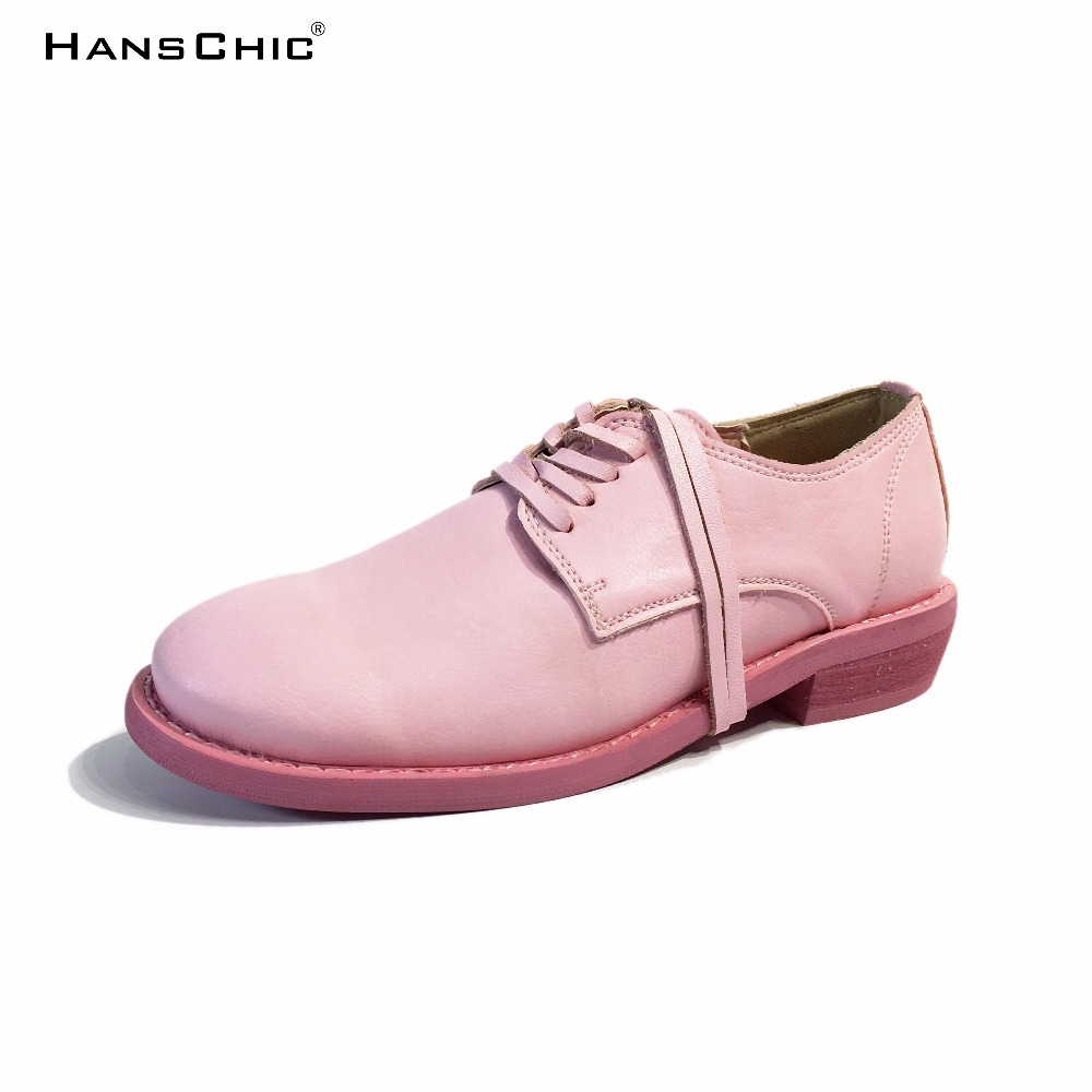 HANSCHIC 2017 Autumn New Arrival Pink Handmade Retro Design Womens Ladies Shoes with Real Leather Shoelace for Female 1088