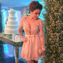 New Arrival Sexy A Line 2016 Light Pink Lace Applique Beading Tulle Long Sleeves Formal Mini Prom Dresses For Wedding Party