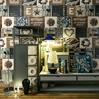 Vintage Personalized Coffee Shop 3D Stone Wallpaper Roll Wood Grain Waterproof Bar Restaurant Background Contact Walls Mural