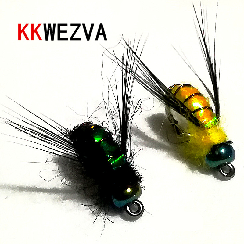 KKWEZVA 20PCS fishing lure #8 Black hooks Bright Skin Material Bee Nymph Spinner Dry Fly Insect Bait Trout Fly Fishing Flies