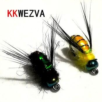 KKWEZVA 20 piezas señuelo de pesca #8, ganchos negros, Material de piel brillante, ninfa Spinner, mosca seca, cebo para insectos, trucha, Mosca de pesca, moscas