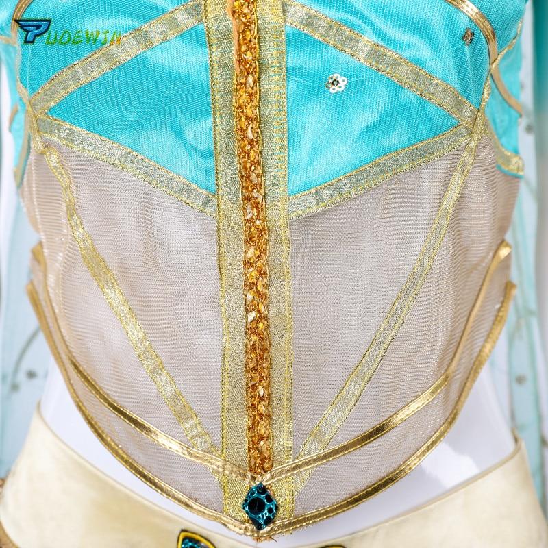 2019 Nieuwe Film Aladdin Jasmijn Prinses Cosplay Kostuum Voor Volwassen Vrouwen Meisjes Halloween Party Kostuum Custom Made - 4