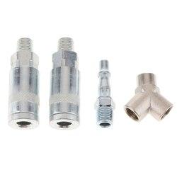 4 pçs pçs/set t juntas linha de ar mangueira compressor montagem conectores liberação rápida