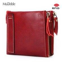 Купить с кэшбэком Muurdde Brand Genuine Leather Vintage Small Women Wallets Female Womens Rfid Wallet Zipper Design Coin Purse Pockets Mini Walet