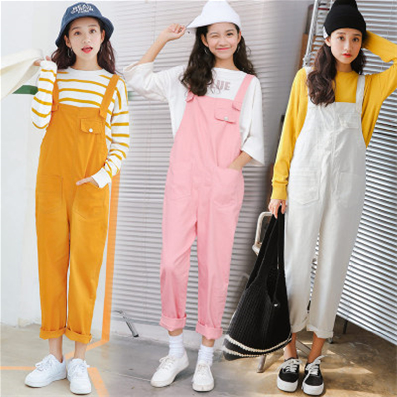 2017 Summer New Rompers Solid Denim Harajuku Kawaii Cute Vintage Casual Loose Women High Waist Jeans Pockets Overalls Pants  2016 hot sale denim overalls women new arrival autumn winter denim bib pants female jeans rompers harajuku woman jeans lx6107