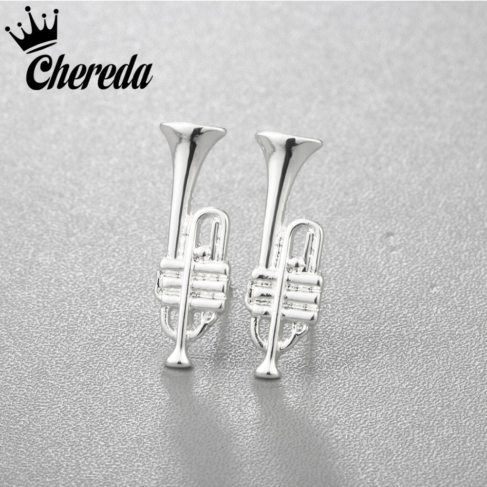 Chereda Alloy Trumpet Shaped Stud Earrings Unique Trendy Fashion Earring Women Male Charms Jewelry Fine Small Accessories Gift