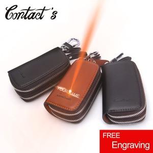 Image 1 - Genuine Leather Car Key Holder For Men Business Key Wallet Housekeeper Keys Male Zipper Door Key Chain Organzier Key Pouch Case