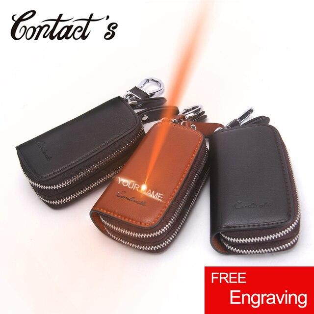 Genuine Leather Car Key Holder For Men Business Key Wallet Housekeeper Keys Male Zipper Door Key Chain Organzier Key Pouch Case