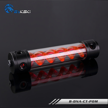 BYKSKI Length 180MM/260MM X 50MM Acrylic Double Helix T-Virus Cylindrical Water-Coolant Tank 6 holes Reservoir Red DNA