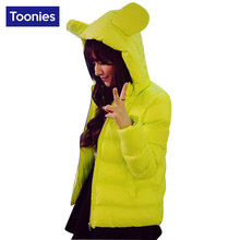 Women Coats Parkas Kawaii Hood Rabbit Ears Solid Cotton-wadded Plus Size 5XL Bread Zipper Outwear Basic Jacket Three Colors Tops