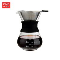 ONEISALL FMKFH1214 400ML Classic Glass Coffee Maker Chemex Style Pour Over Coffeemaker Household Kettle with Steel Filter