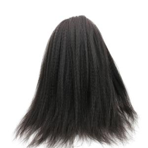 Image 3 - Eseewigs 300 Density Italian Yaki Straight Fake Scalp PU silk base Lace Frontal Wigs Black Women Remy Human Hair wig With Baby