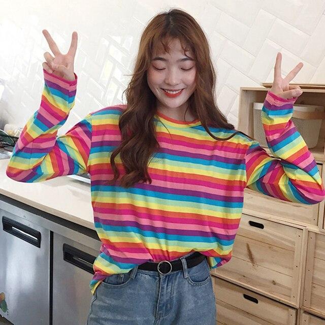 958f4aa56a65a8 Koszulka Femme 2018 Moda Jesień Blusas Koreański Ulzzang Harajuku Rainbow T-shirty  W Paski Kobiety