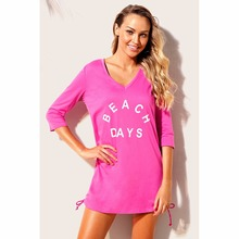97705ec7b6b2 2018 Swimsuit Cover Ups Sexy Beach Tunic Dress Summer women Pareo Ruched  Tie Side V Neck