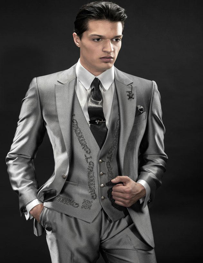 2017 grey tuxedo styles men suits for wedding jacketpantsvest wedding suits groomsmen