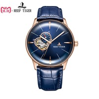 New Reef Tiger/RT Designer Casual Watches Convex Lens Rose Gold Blue Dial Automatic Watches for Men RGA8239