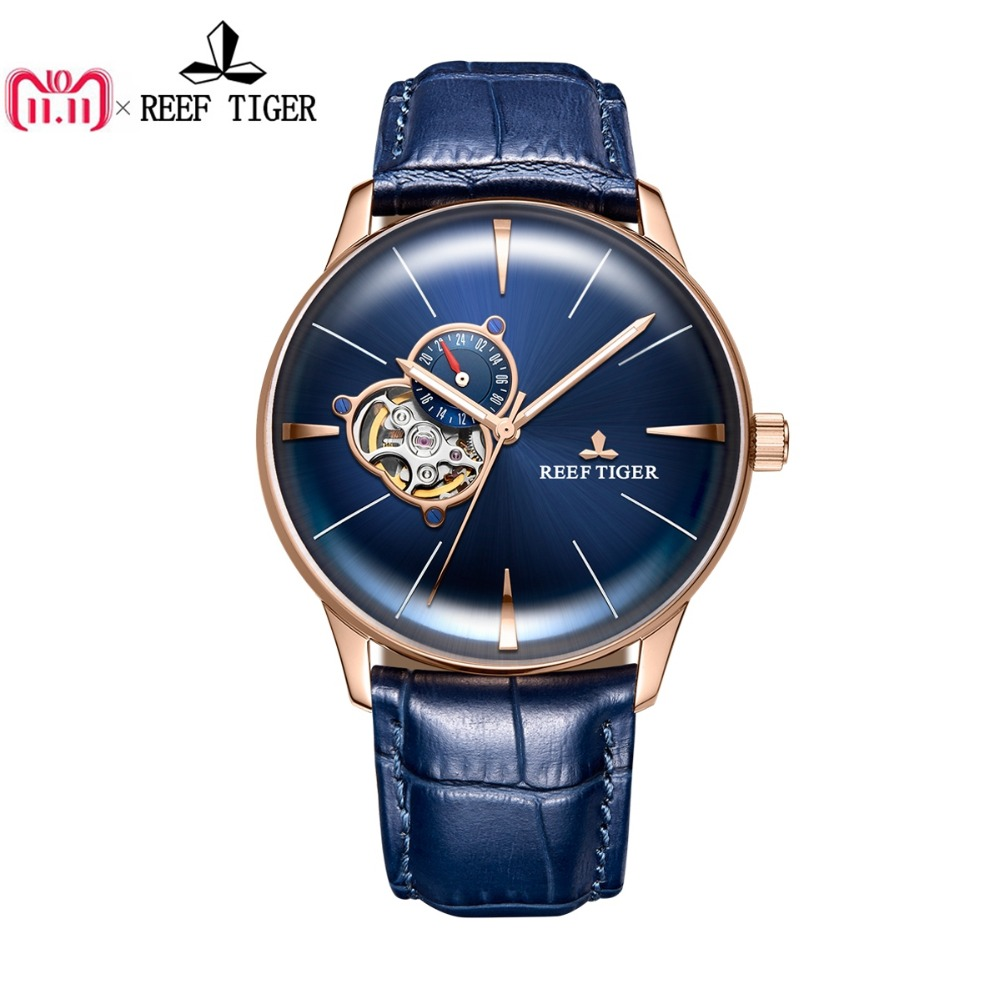 Nuevo arrecife Tigre/RT diseñador Casual relojes de la lente convexa de oro rosa azul automático Dial relojes para hombres RGA8239