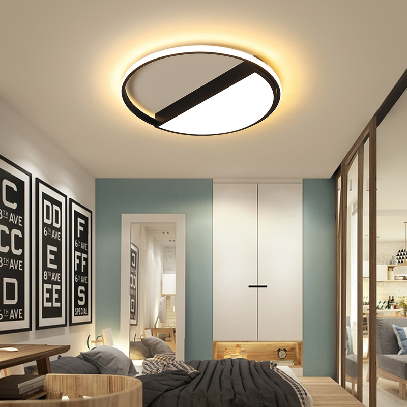 Black/ white square round LED ceiling lamp living room dining room bedroom hall kitchen decoration modern dimming ceiling lamp modern metal led dimmable white black square lamp for bedroom corridor living room ceiling lamp