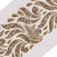 T2553 Złote Cekiny Paciorkami Suknia Dla Nowożeńców Aplikacja Przycinanie Dekoracyjne Koronki Wykończenia Taśmy Szycia Akcesoria Odzieżowe 5L