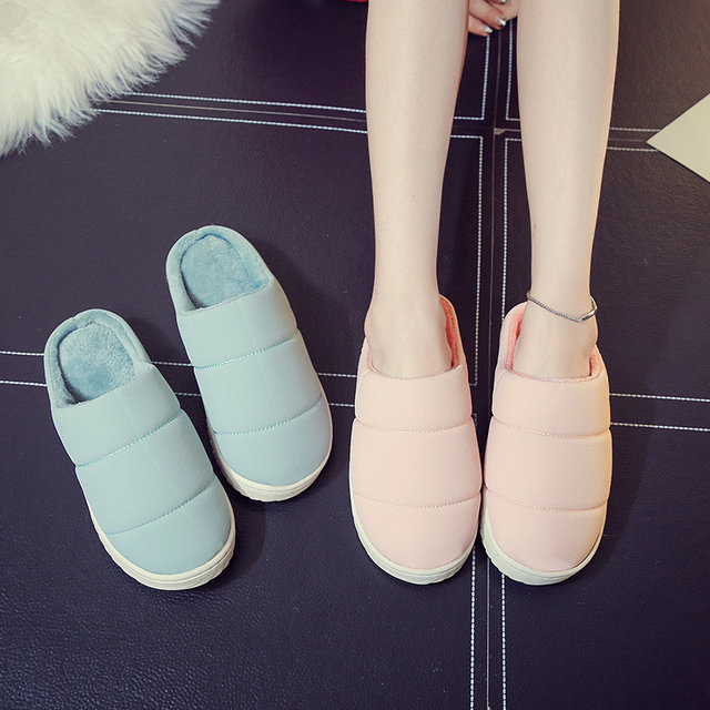 Winter New Arrival Simple Style Men And Women Durable Home Slippers Soft Cotton Comfortable Indoor Antiskid Bedroom Shoes