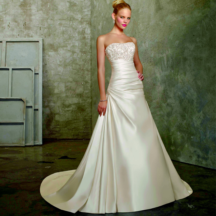 Wedding Gowns A Line Strapless : Wedding dress beaded strapless bodice a line satin bridal gowns
