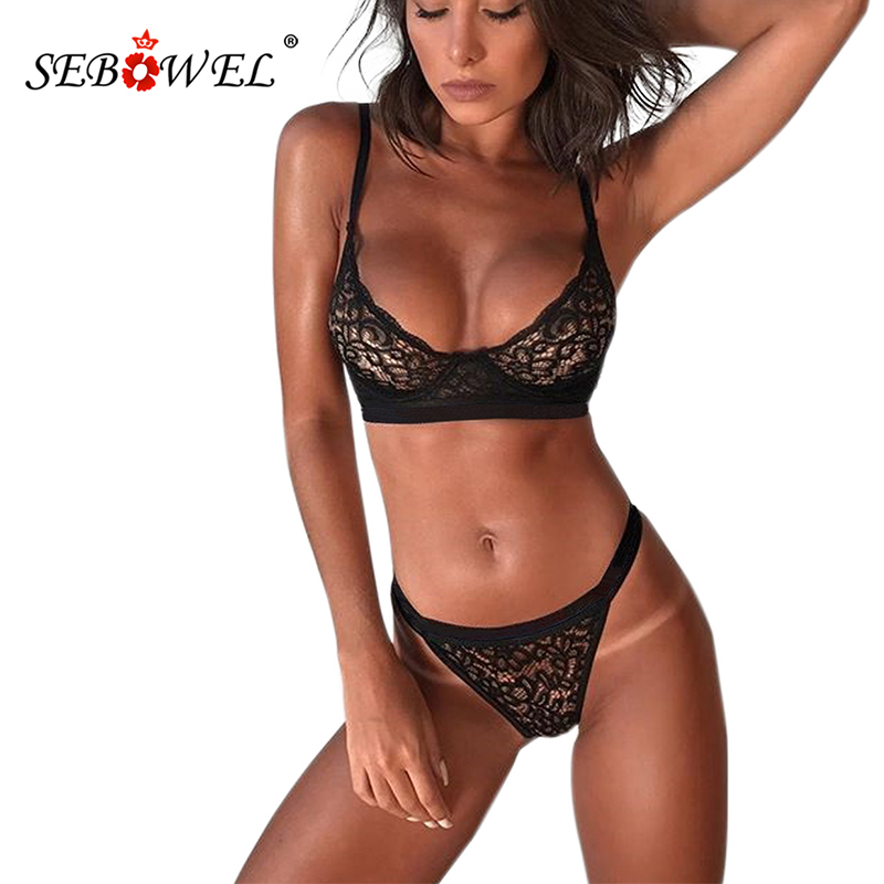 SEBOWEL 5 Colors Romantic Night Lace Bralette Lingerie Set Women Sexy Lace Bra Top And Cleverish Thong Female Lenceria Underwear