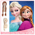 1PC Cosplay Wig Cos Hairpieces Cartoon Elsa Anna Free Gift Cap Braid Wavy U Part Wig Long Hair Party Synthetic Wigs