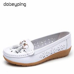 Image 2 - Dobeyping mocassins dété pour femmes, chaussures ajourées en vrai cuir, chaussures plates, mocassins respirants, tailles 35 à 41, collection 2018